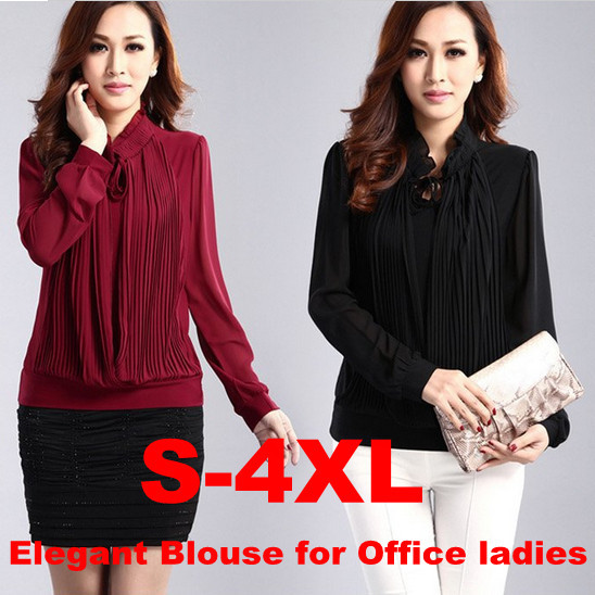 d5ddffcd76b Designer Plus size S-3XL 4XL black Red Women s work shirt long-sleeve  office ladies basic Blouse chiffon Slim career tops