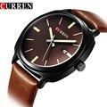 Curren Top Luxury Brand Quartz Watch Man bLACK Casual Dress Auto date Genuine Leather Strap Wrist watch 2017 New 8212
