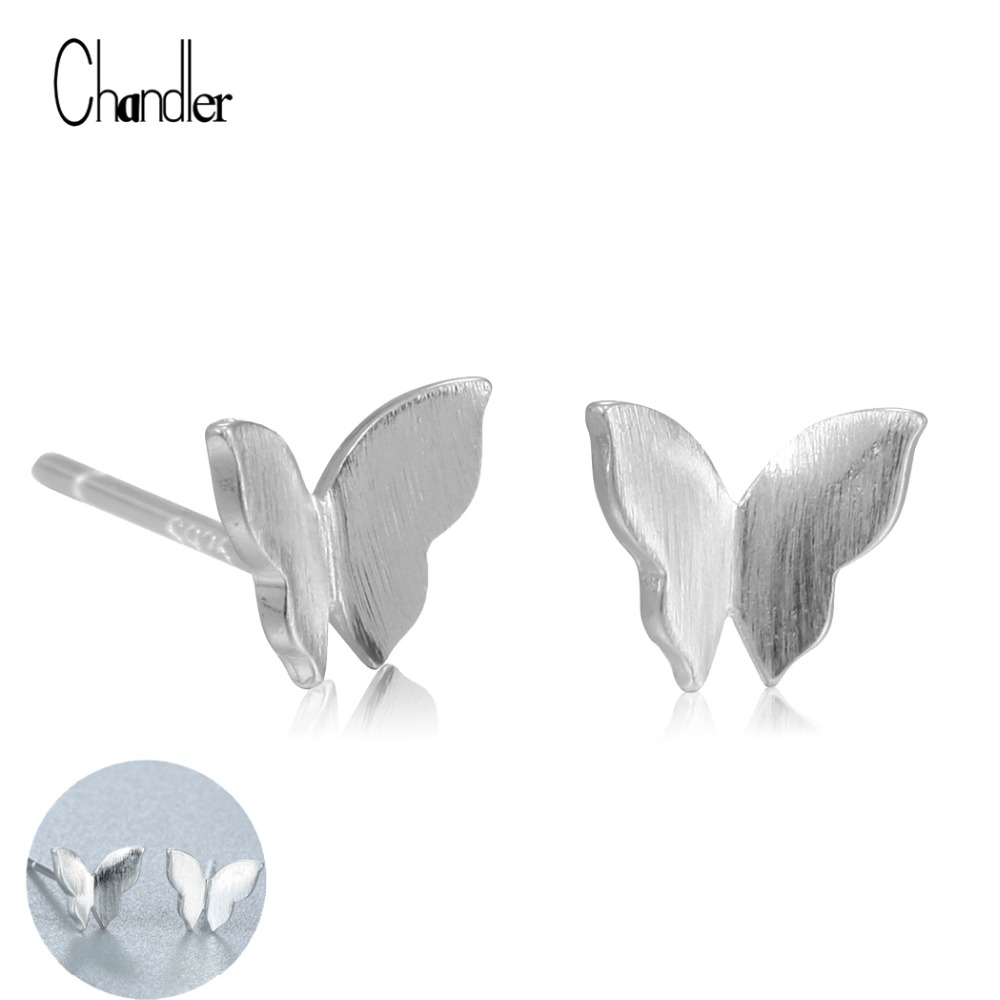 2017 New Butterfly Plat Matte Stud Earring For Womens 925 Sterling silver Boucle Doreille Wedding Fashion Accessaries Wholesale