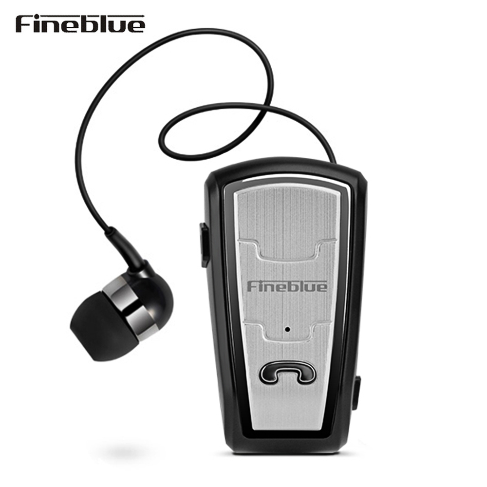 Fineblue FQ208 Bluetooth 4.0 Earbud Car Business Earphone With Retractable Cable Noise Canceling Black White Sports Earphone