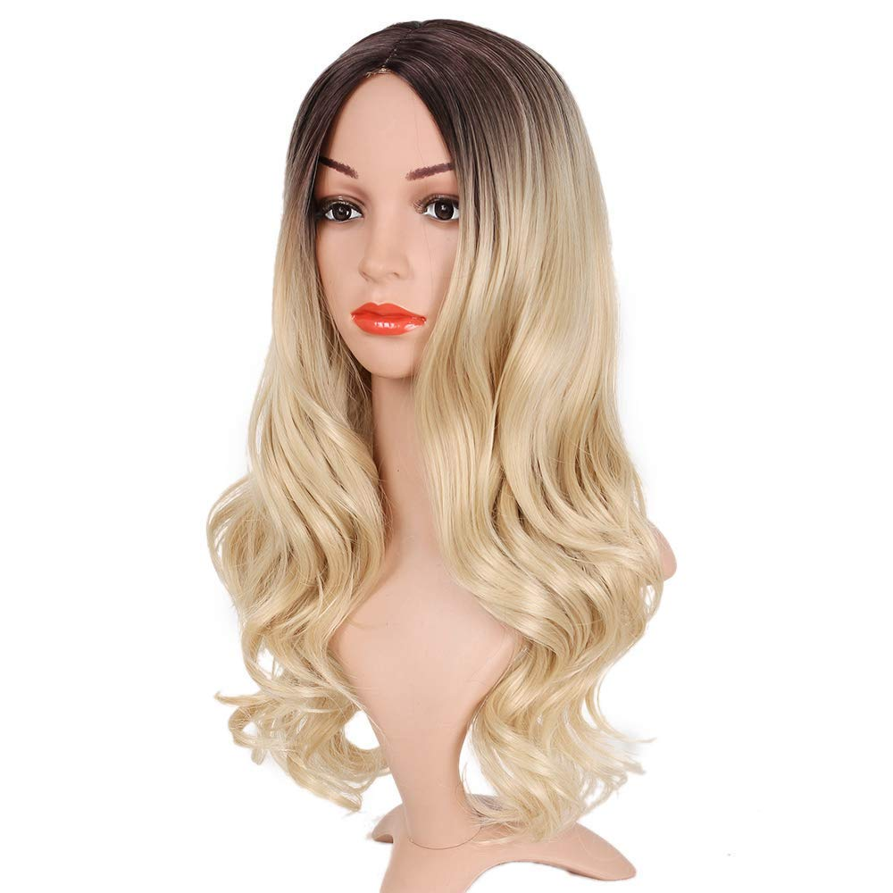 Pageup Middle Part Ombre Blond Wig For Women Heat Resistant Fiber Ladies Daily Cosplay Long Wavy Hair Curly Synthetic Blonde Wig (1)