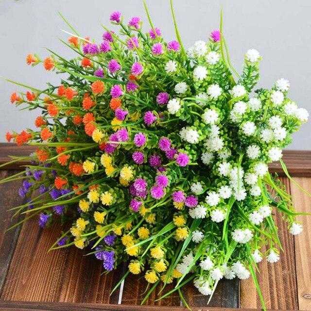 Nieuwe 1 Tak Kleine Kunstplanten Gras Nep Bloemen Plastic Zijde Eucalyptus Bloemen Voor Hotel Bruiloft Tafel Decor