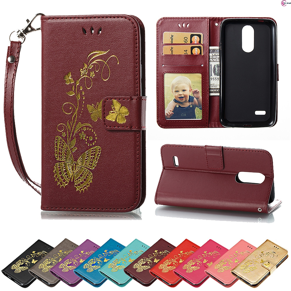 Flip Case for LG K4 2017 M160E M160 M 160 E 160E Luxury Butterfly Case Wallet photo frame Phone Leather Cover for K 4 2017 Capa