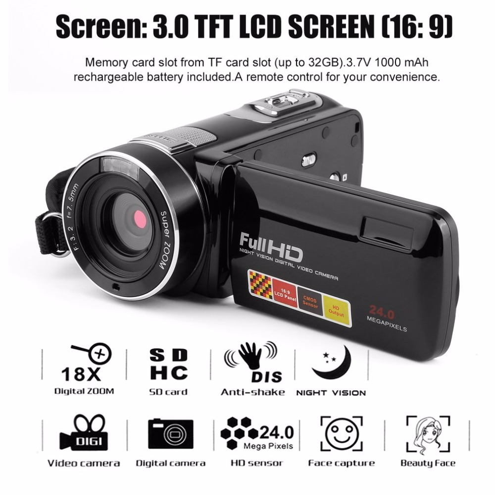 Camcorder Video-Camera Zoom Digital Portable Full-Hd 24MP Touchscreen Night-Vision 1920x1080