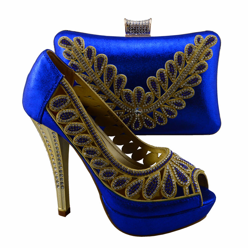 1308 L71 Royal Blue Wonderful design Italian style shoes matching bags series Nice lady shoes and