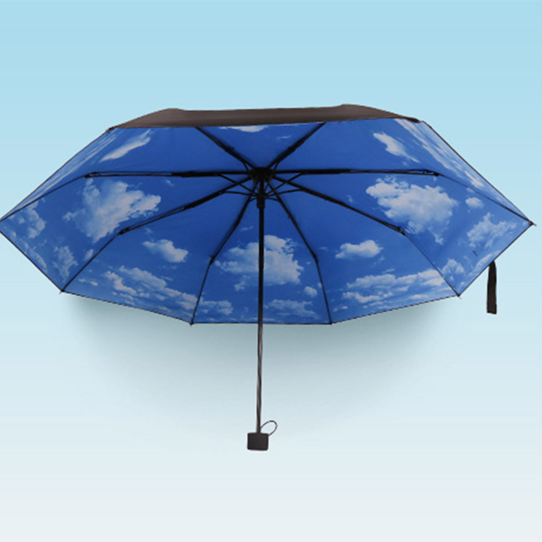 3 Folding Blue Sky Super Anti Uv Umbrellas Sun Protection Parasols