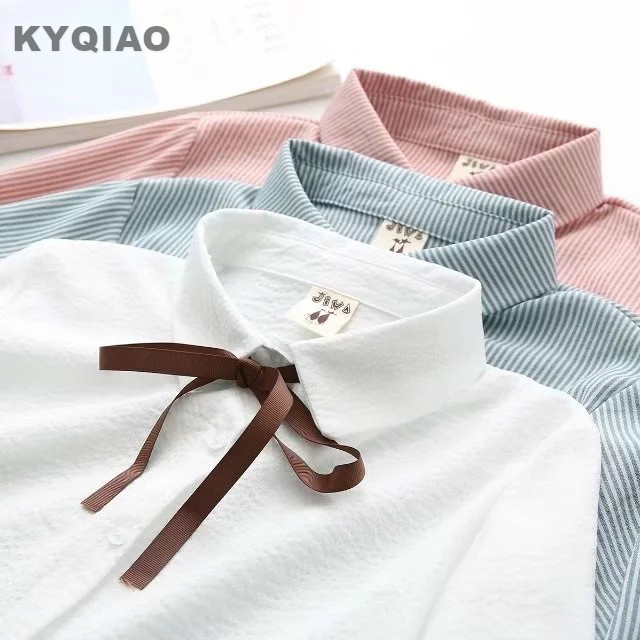 Perfect KYQIAO Lolita Shirt 2018 Mori Girls Spring Autumn Japan Style Sweet Fresh  Long Sleeve White Blue Pink Striped Blouse Blusa Top In Blouses U0026 Shirts  From ... Awesome Design