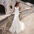 Vestido Longo Com Decote Em V de Casamento Da Sereia do vintage vestido de Noiva Sexy Cap Manga vestidos de Noiva Trem Da Varredura Vestido De Noiva