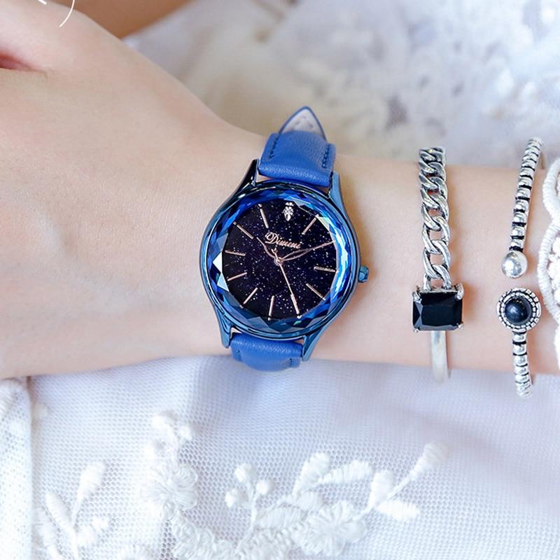 все цены на Women Watches Luxury Brand Lady Crystal Lady Wrist Watches Starry sky Woman Quartz Ladies Leather Female Watch Relogio Feminino онлайн