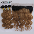 7A Full Ear to Ear 13x4 Lace Frontal Closure With Bundles Malaysian Virgin Hair Body Wave Ombre #1B/30 Honey Blonde Color