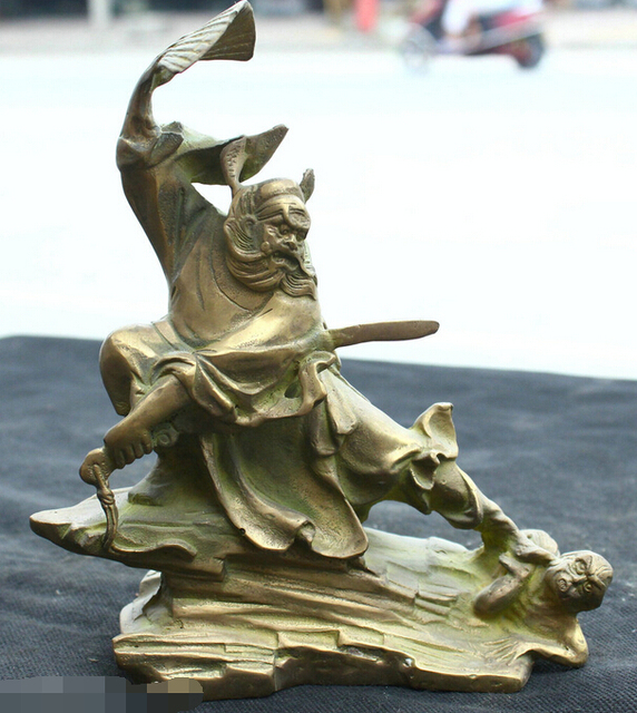 free shipping chinese folk fengshui old bronze brass statue buddhist