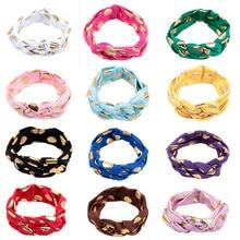 12pcs/lot Elastic Baby Hair Accessories Twist Knot Cross Girl Headbands Cute Gold Dot Turban Headband Hairband
