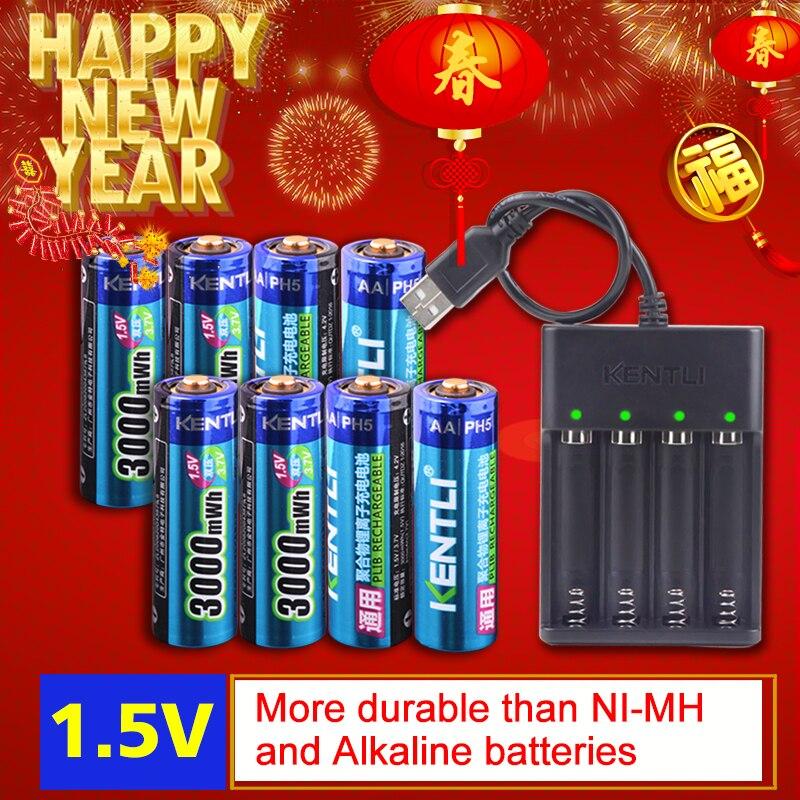 8 шт. 1,5 в 3000mWh без эффекта памяти aa перезаряжаемый литий-полимерный литий-ионный полимерный литиевый аккумулятор + 4 слоты USB зарядное устройс...