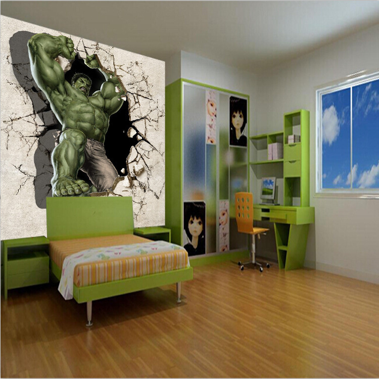 Great Aliexpress.com : Buy Customize 3D Hulk Mural Wallpaper Broken Wall Out Full  Wall Murals Print Decals Home Decor Photo Wallpaper From Reliable Photo ... Photo