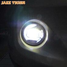 Джаз тигр 2-в-1 функции светодиодный дневного света автомобилей Светодиодный туман лампа проектора свет для Renault Scenic II 2005 2006 2007 2008