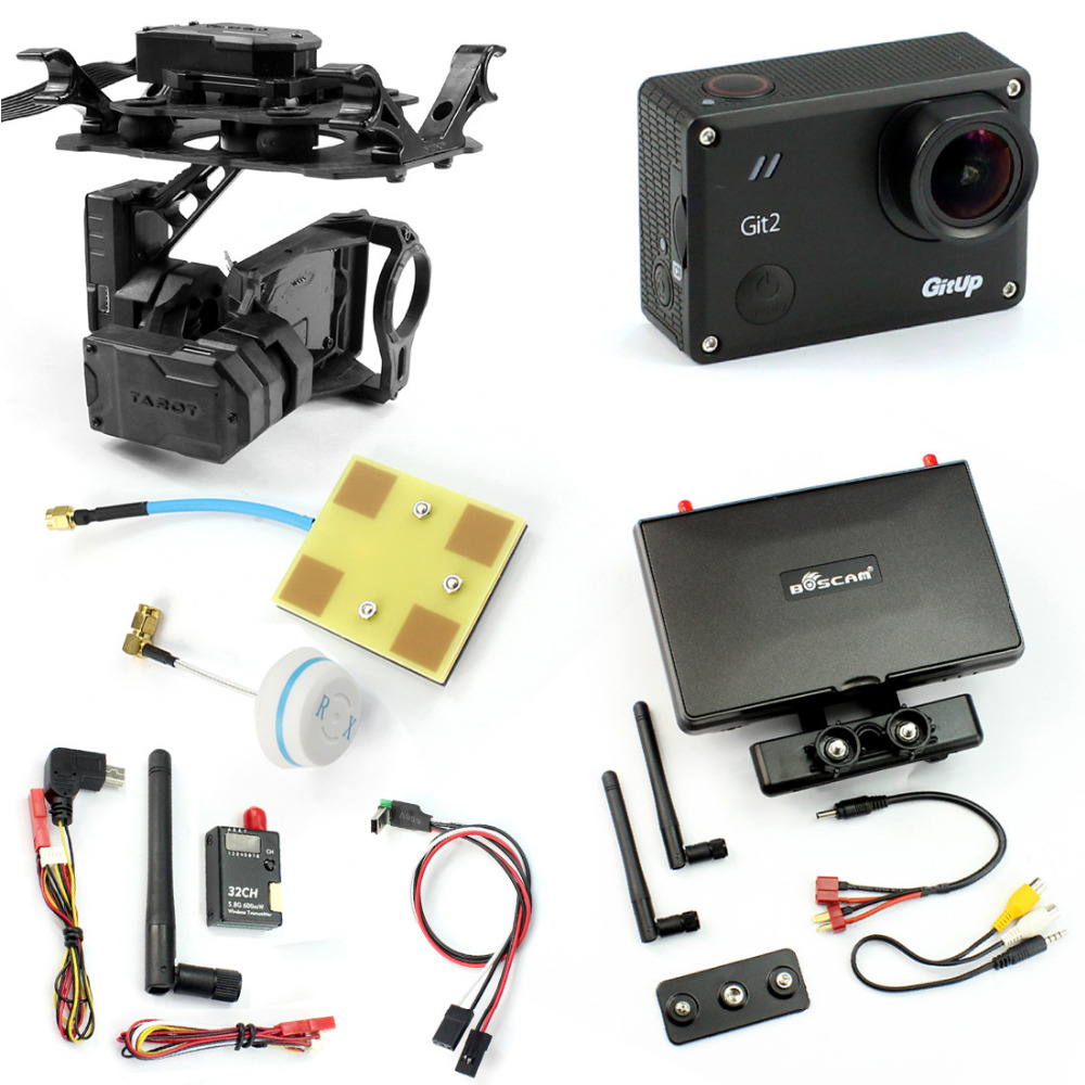 DIY Drone FPV Set with 600mw Transmitter 7 Inch FPV Monitor Tarot T4-3D 3-axis Gimbal Gitup git2 Camera FPV Cable Panel with two batteries yuneec q500 4k camera with st10 10ch 5 8g transmitter fpv quadcopter drone handheld gimbal case
