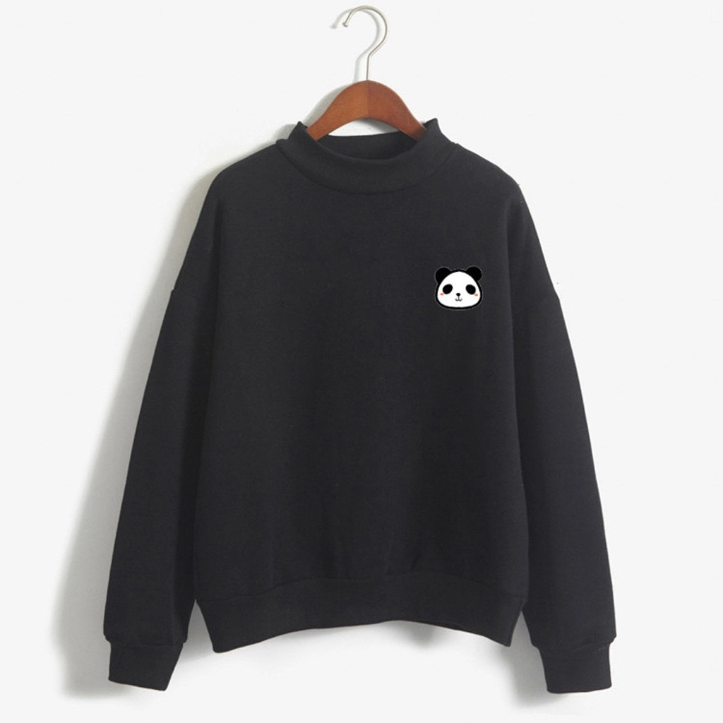 Sweatshirt Women O-Neck Solid Harajuku Hoodie Women Panda Pattern Long Sleeve Sweatshirt Sweat Femme Oversize Sudadera Mujer