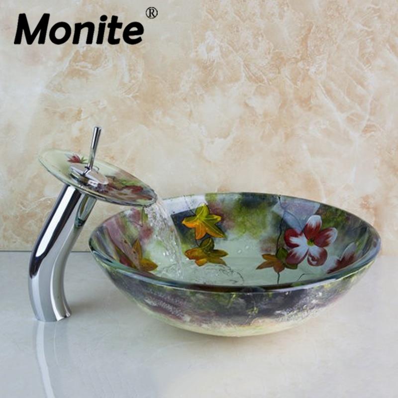 Chrome Flower Basin Faucets Waterfall Bathroom Art Round Washbasin Lotus Tempered Glass Vessel Sink Set