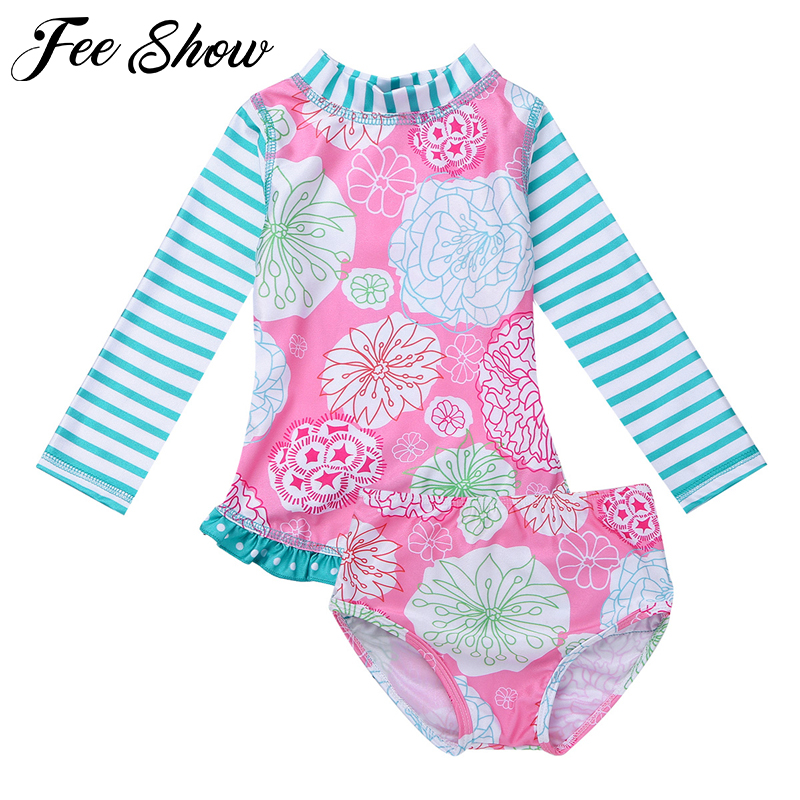 Happy childhood Baby Girls 2PCS Floral Long Sleeve Rash Guard Swimsuits Sweet Bathing Suit Swimwear