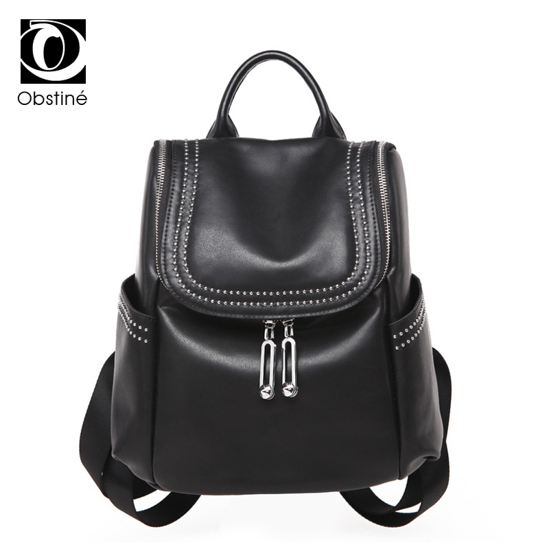 Women's Backpacks High Quality Sheepskin Genuine Leather Backpack Female School Bagpack Preppy Style Travel Fashion Shoulder Bag preppy style school bag women backpack shoulders female travel bags kanken high quality leather backpacks bolsas free shipping