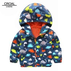 Милое весеннее Детское пальто с динозавром на рост 80-120 см Осенняя детская куртка Верхняя одежда для мальчиков, пальто ветровка для активных...
