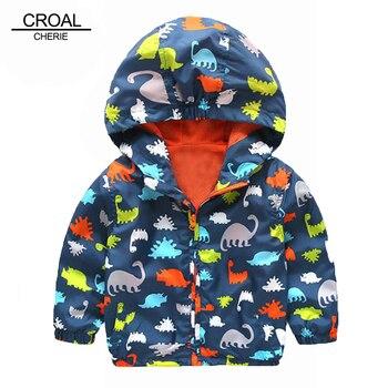 Милое весеннее Детское пальто с динозавром 80-120 см Осенняя детская куртка Верхняя одежда для мальчиков, пальто ветровка для активного отдых...