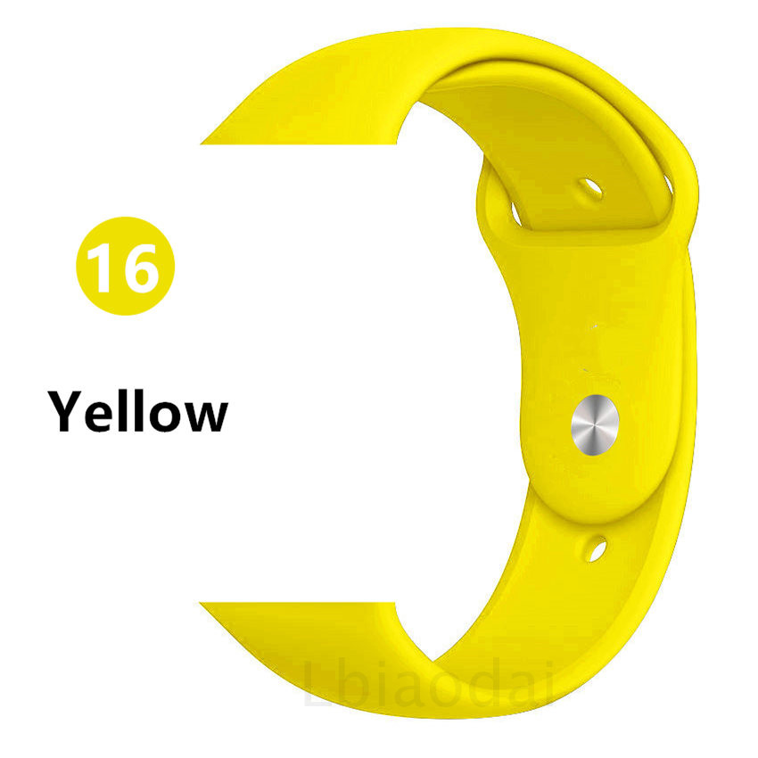 Ремешок для Apple Watch 38 мм 42 мм iWatch 4 ремешка 44 мм 40 мм спортивный силиконовый ремень браслет Apple watch 5 4 3 2 Аксессуары для ремешка - Цвет ремешка: Yellow