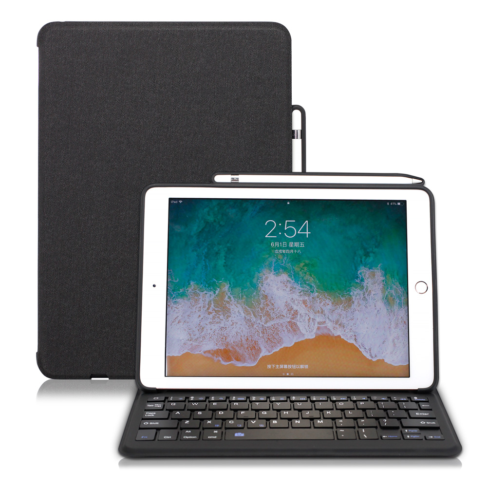 купить WOWCASE Wireless Bluetooth Keyboard Case Cover For iPad 2018 9.7 Multiple Folio Stand For iPad 9.7 2018 Case with Pencil Holder по цене 2719.22 рублей
