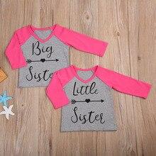 Infant Baby Kids Girls T shirt Litter Big Sister Cotton Long Sleeve T shirt Tops Matching