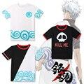 Camiseta Anime Soul Silver Okita Sougo Gintama Cos Traje T-shirt Padrão de Olho