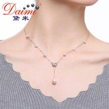 Daimi 2017 nuevo bowknot colgante de collar de plata de ley 925 perlas de agua dulce colgante collar de la joyería de marca de alta calidad