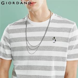 Image 4 - ジョルダーノ男性 Tシャツ男性ストライプ刺繍パターンソフト品質綿 O ネックブランド夏の Tシャツ半袖 Tシャツ