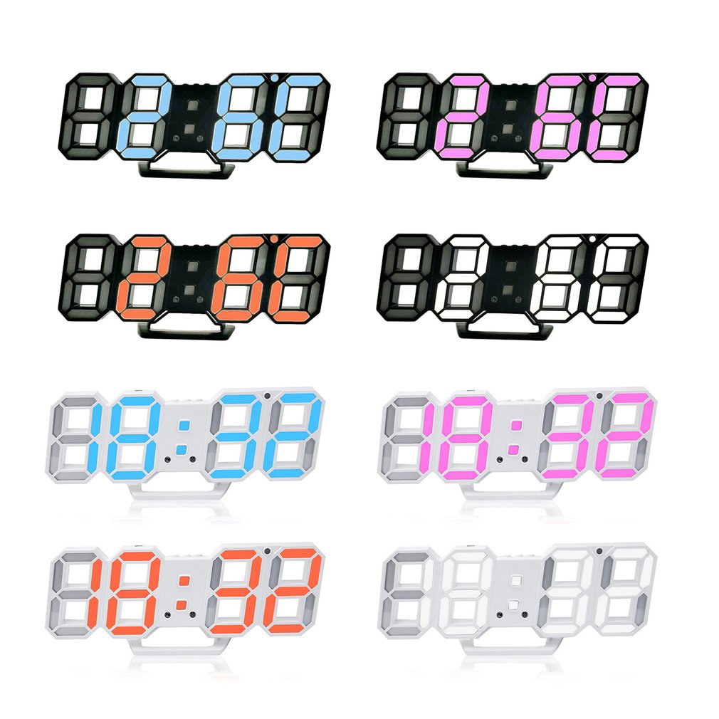 3D LED Display Digital Wall Clock Electronic Modern Design Simple Fashion Wall Clock USB Plug Wall Clock Stereo Clock