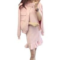 2019 Winter Women Knitted Jacket Suits+Sleeveless Fishtail Dress 2 Piece Sets Cashmere Sweater Ruffles Mermaid Vestido