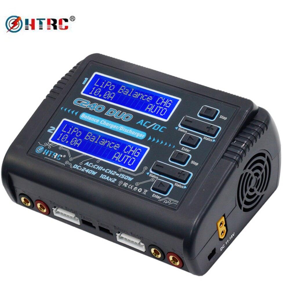 HTRC LiPo Батарея Зарядное устройство двухканальной AC 150 W DC 240 W 10A C240 1-6 S для литий-ионный LiFe NiCd NiMH LiHV PB Smart Батарея Dis Зарядное устройство
