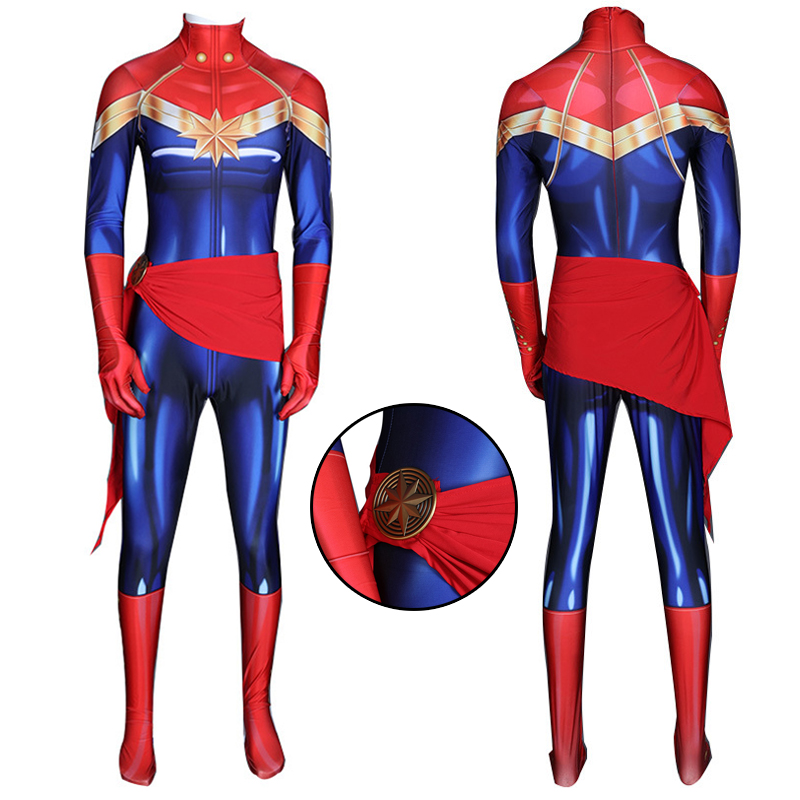 Superhero Captain Marvel Carol Danvers Cosplay Costume Zentai Bodysuit Halloween Suits One Piece Spandex Jumpsuits For Women-in Movie & TV costumes from Novelty & Special Use    1