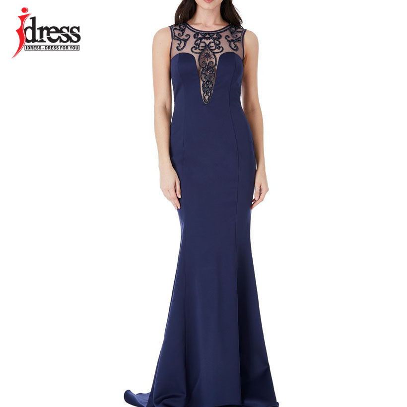 IDress High Quality 2018 Summer Sleeveless Dress Beading Robe Ete Evening Party Long Dress Red Blue Dress Vestidos Maxi Dress (5)