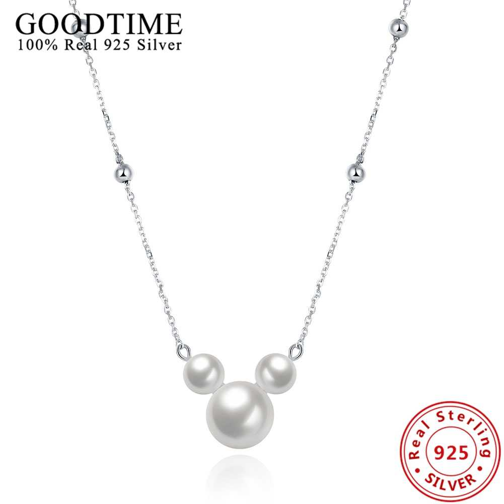 Real Solid 925 Sterling Silver Mickey Shape Pearl Pendant Necklaces For Women Lovely Link Chain Collares Choker Necklaces GTN055