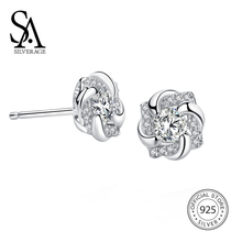 hot deal buy sa silverage 925 sterling silver flower gemstone stud earrings for women 925 silver earrings sets fine jewelry