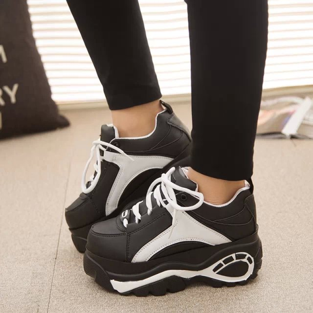 16d275cdd88b 15 HARAJUKU platform shoes platform elevator running shoes sneaker shoes  women s black-and-white
