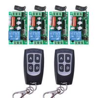 AC 220V 10A Wireless Remote Control Wireless Light Switch System 4 Receiver 2 Transmitter Light Lamp