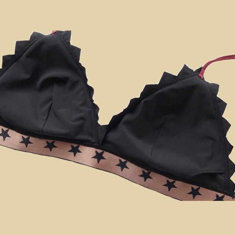 Femmes noir soutien-gorge Pantie ensemble trois quarts Bralette sans couture étoile brodée Lingerie sans fil soutien-gorge Pantie ensembles pour femmes - 5