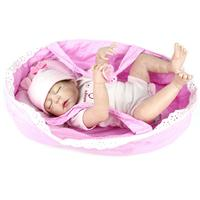 55cm simulation doll newborn baby doll silicone baby puzzle toy with doll basket