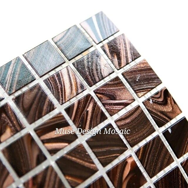 Mixed Gold Braun Glasmosaik Fliesen Wandaufkleber Showroom Ktv