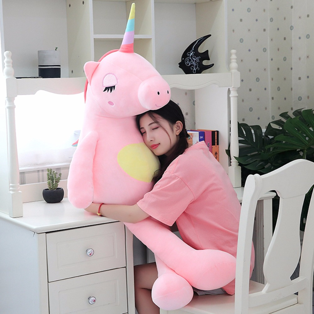 Hot 2020 Arrival Large Unicorn Plush Toys Cute Rainbow Horse Soft Doll Stuffed Animal Best Toys For Children Girl Gift Christmas