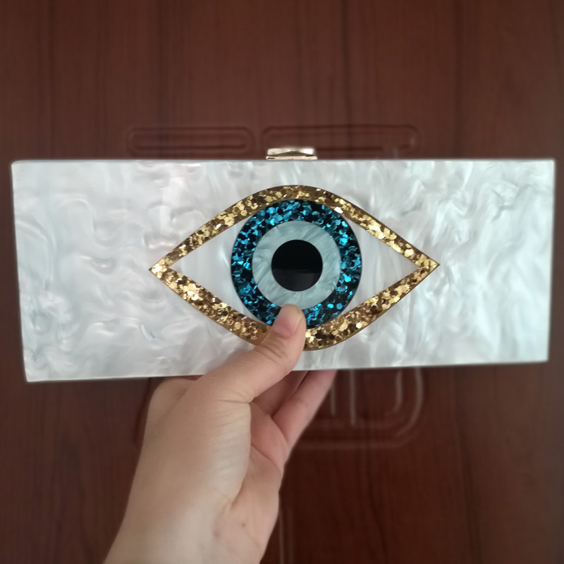 Evil Eye Two Colors Long Acrylic Wallet Purse Handbags Brand 