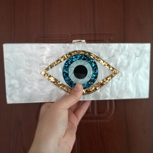 Evil Eye Two Colors Long Acrylic Wallet Purse Handbags Brand Shoulder Messenger Travel Party Wedding Box Clutches Lady Girl Bag