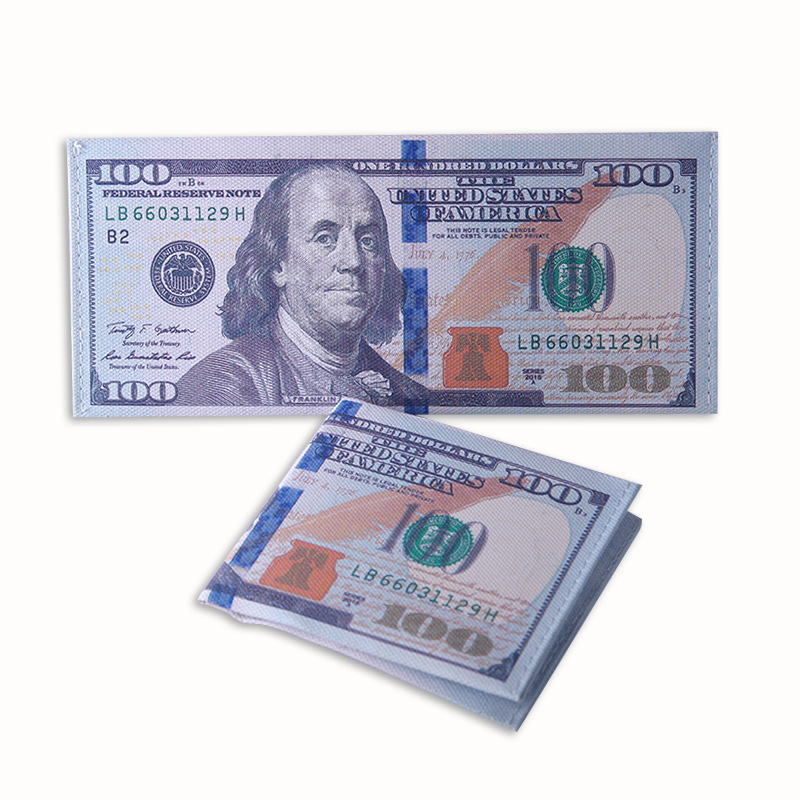 Foreign Currency Pattern Wallet Dollar Europe Money Creative Canvas Wallets Travel Student Whole Dropship
