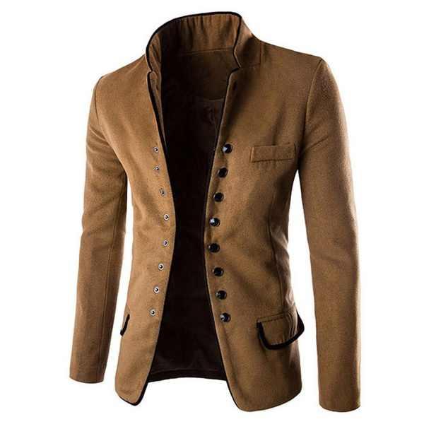 Zogaa גברים של צווארון עומד מעיל Slim Fit חליפת כפתור מעיל מעיל טרייל חולצות שמלת לגברים בגדי 2018 זכר מעיל מעיל