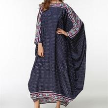 Brand Fashion Print Plus Size Robe Knitting Patchwork Dresses Kaftan Abaya